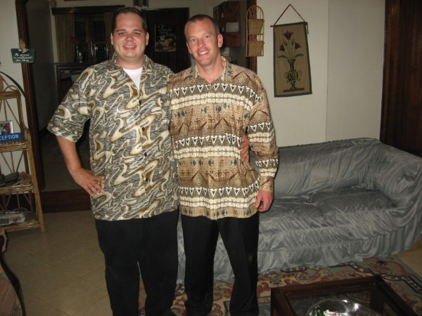 David and Josh in their Uganda shirts. The shirts were given to us by Jesus Christian Center on our last night of the Revival.